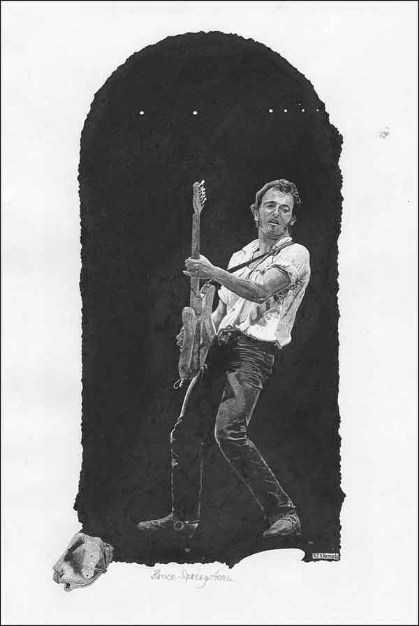 Bruce Springsteen: A Rock Act drawing by Richard Kennedy
